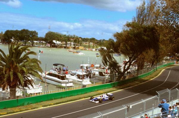 Albert Park, Melbourne, Australia.8-10 March 1996.Jacques Villeneuve (Williams FW18 Renault) 2nd position on his debut Grand Prix, at Marina.Ref-96 AUS 24.World Copyright - LAT Photographic