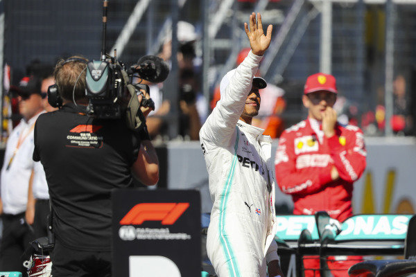 Lewis Hamilton, Mercedes AMG F1, waves to the fans after Qualifying