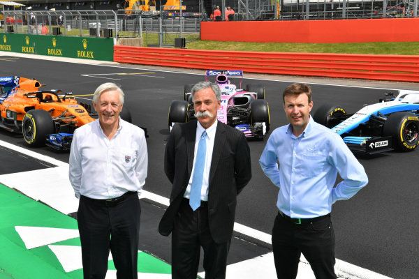 John Grant, Chairman of the BRDC, Chase Carey, Chairman, Formula 1 and Stuart Pringle, Managing Director of Silverstone Circuits with the McLaren MCL34, Racing Point RP19 and Williams Racing FW42 in front of the Silverstone Wing
