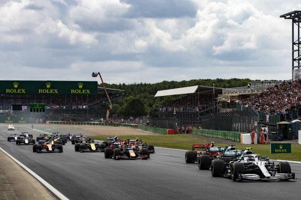 The race start, Valtteri Bottas, Mercedes AMG W10 leads Lewis Hamilton, Mercedes AMG F1 W10, Charles Leclerc, Ferrari SF90 and Max Verstappen, Red Bull Racing RB15