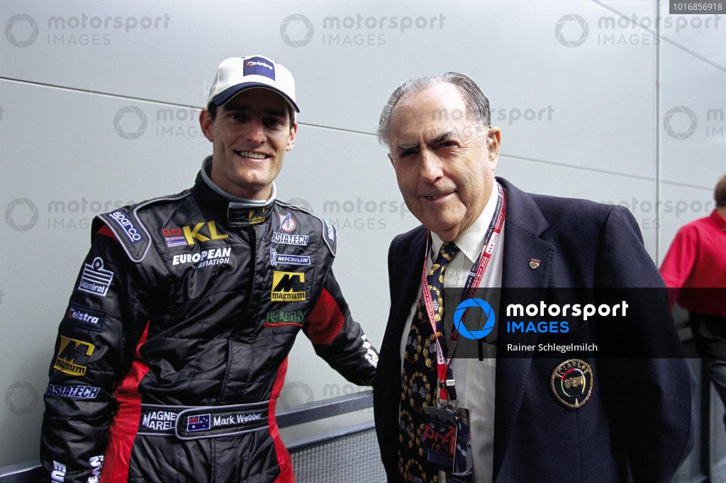 Mark Webber, Minardi, and Sir Jack Brabham.