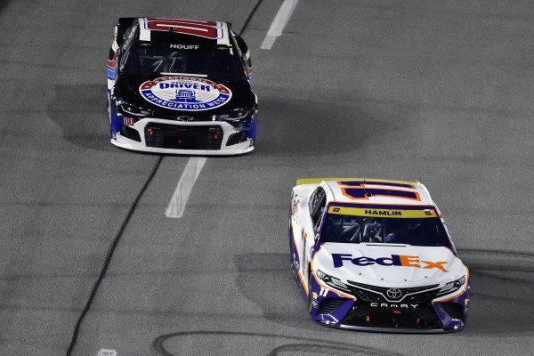 #11: Denny Hamlin, Joe Gibbs Racing, Toyota Camry FedEx Ground and #00: Quin Houff, StarCom Racing, Chevrolet Camaro Trucker Appreciation