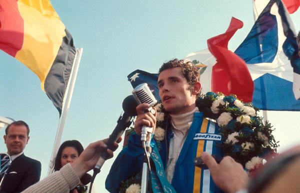 1969 Canadian Grand Prix.Mosport Park, Ontario, Canada.18-20 September 1969.Jacky Ickx (Brabham/MRD) 1st position on the podium.Ref-69 CAN 86.World Copyright - LAT Photographic