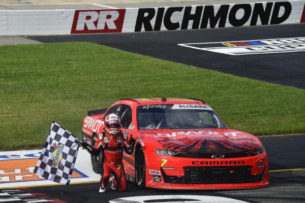 #7: Justin Allgaier, JR Motorsports, Chevrolet Camaro BRANDT celebrates his win
