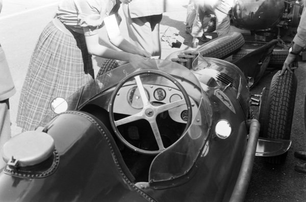 The cockpit of Peter Collins' Ferrari Dino 156.