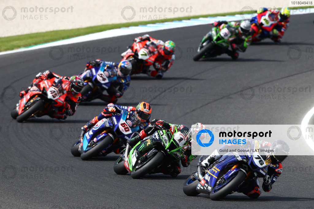 Loris Baz, Ten Kate Racing Yamaha  leads.