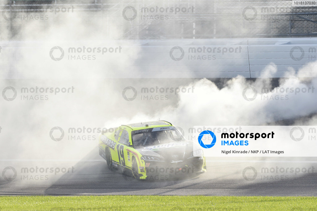 #19: Brandon Jones, Joe Gibbs Racing, Menards/Swiffer Toyota Supra celebrates his win