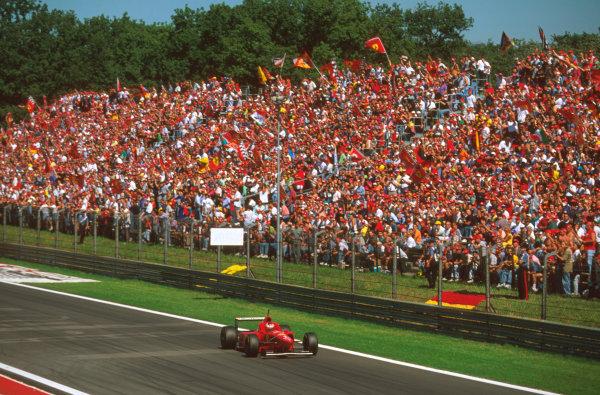 Monza, Italy.6-8 September 1996.Michael Schumacher (Ferrari F310) 1st position at Parabolica.Ref-96 ITA 01.World Copyright - LAT Photographic