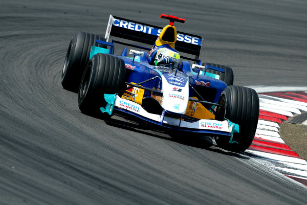 2004 European Grand Prix-Sunday Race,Nurburgring, Germany.29th May 2004. Giancarlo Fisichella, Sauber Petronas C23 finishes in sixth position.World Copyright: LAT Photographic. ref: Digital Image Only