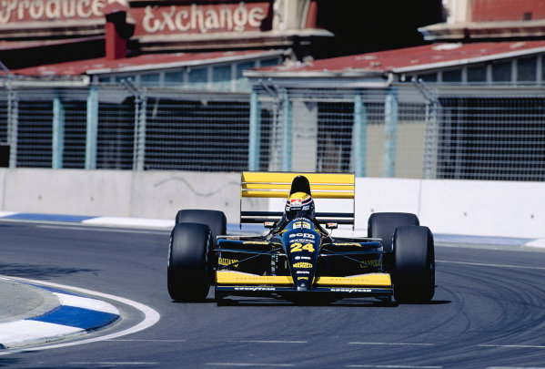 1991 Australian Grand Prix.Adelaide, Australia.1-3 November 1991.Roberto Moreno (Minardi M191 Ferrari) 16th position.Ref-91 AUS 39.World Copyright - LAT Photographic