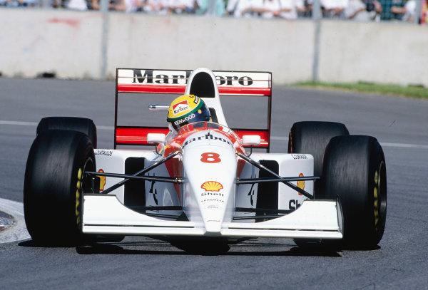 1993 Canadian Grand Prix.Montreal, Quebec, Canada. 11-13 June 1993.Ayrton Senna (McLaren MP4/8 Ford).Ref-93 CAN 17.World Copyright - LAT Photographic