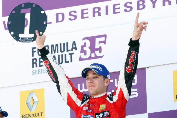 ALCANIZ (ESP) MAY 4-6 2012 -  First Round of the Formula Renault 3 5 Series 2012 at Motorland Aragon. #4 Robin Frijns (NLD), Fortec Motorsports. Podium. © 2012 Ronald Fleurbaaij / LAT Photographic
