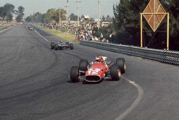 Mexico City, Mexico. 20 - 22 October 1967.  Jonathan Williams (Ferrari 312) followed by Jackie Stewart (BRM P115). Williams finished in 8th position.  Ref: 67MEX13. World Copyright: LAT Photographic