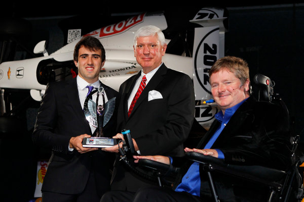 6 December, 2012, Indianapolis, Indiana, USA Greg Moore legacy award winner and Indy Lights Champion Tristan Vautier with Al Speyer and Sam Schmidt.(c) 2012, Russ Labounty LAT Photo USA
