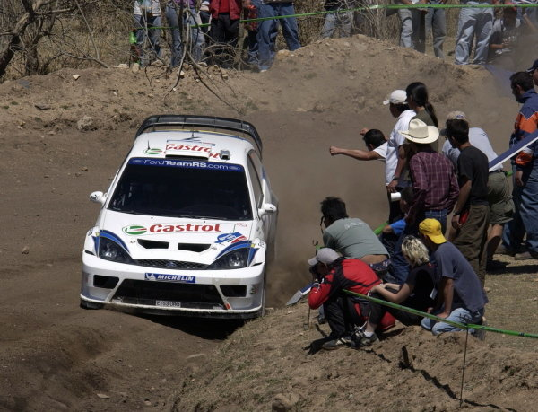 Rally winner Markko Martin (EST) / Michael Park (GBR) Ford Focus RS WRC 03. World Rally Championship, Rd3, Rally Mexico, Leon, Mexico. Day Three. 14 March 2004. DIGITAL IMAGE