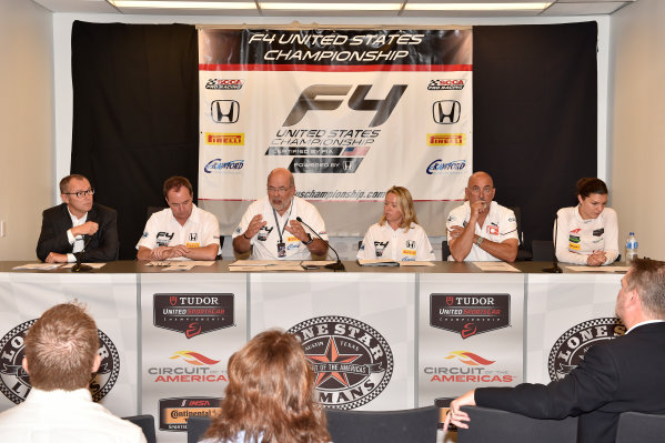 17 September 2015, Austin, Texas USA L to R, Stefano Domenicali, Marc Sours, Robert Clarke, Kathryn Crawford, Bobby Rahal, Katherine Legge  ©2015, Scott R LePage  LAT Photo USA