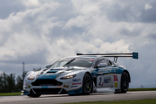 2015 British GT Championship, Donington Park, England. 12th - 13th September 2015. Ahmad Al Harthy / Alex MacDowall Oman Racing Team Aston Martin Vantage GT3.  World Copyright: Zak Mauger/LAT Photographic. ref: Digital Image _L0U8530