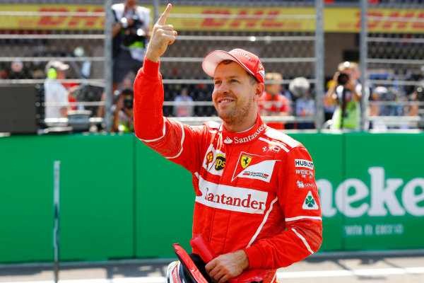 Autodromo Hermanos Rodriguez, Mexico City, Mexico. Saturday 28 October 2017. Pole man Sebastian Vettel, Ferrari. World Copyright: Steven Tee/LAT Images  ref: Digital Image _R3I5409