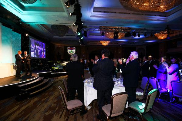 2017 British Racing Drivers Club Awards. London Hilton Hotel, Park Lane, London. Monday 4th December 2017. Martin Brundle and Derek Warwick. World Copyright: Jakob Ebrey / LAT Images. Ref: Warwick-02 (2)