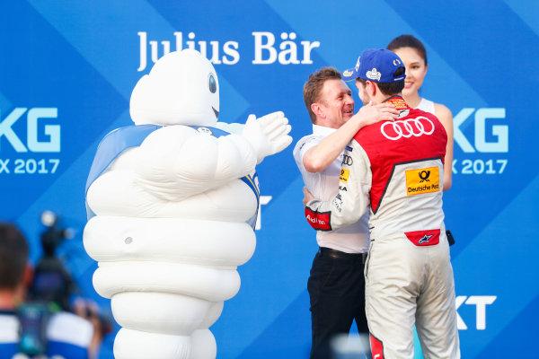 2017/2018 FIA Formula E Championship. Round 2 - Hong Kong, China. Sunday 03 December 2017. Allan McNish, Team Principal, Audi Sport Abt Schaeffler, and Daniel Abt (GER), Audi Sport ABT Schaeffler, Audi e-tron FE04, celebrate on the podium. Photo: Sam Bloxham/LAT/Formula E ref: Digital Image _J6I7688