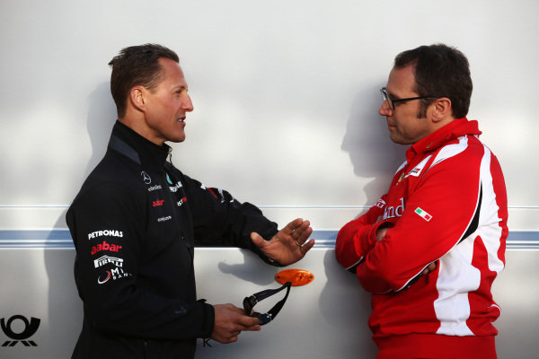 (L to R): Michael Schumacher (GER) Mercedes GP with Stefano Domenicali (ITA) Ferrari General Director.