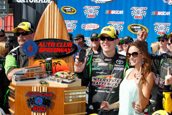 22-24 March, 2013, Fontana, California USA Kyle Busch, Interstate Batteries Toyota Camry victory lane ©2013, Matthew T. Thacker LAT Photo USA.