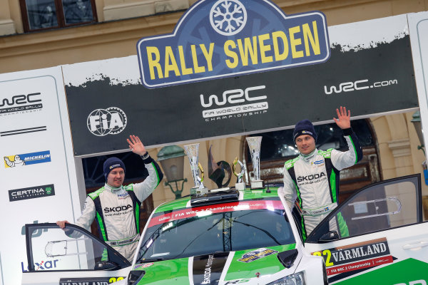 2016 FIA World Rally Championship, Round 02, Rally Sweden, 12th - 14th, February, 2016 Pontus Tidemand, Skoda WRC2, Podium Worldwide Copyright: McKlein/LAT