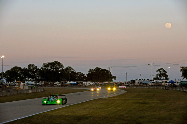 12-15 March, 2014, Sebring, Florida, USA Cars race out of the kink and head for the hairpin under a full moon. #1, Honda, HPD ARX-03b, P, Scott Sharp, Ryan Dalziel, David Brabham ©2014, F. Peirce Williams LAT Photo USA