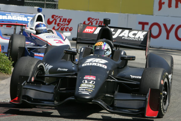 11-13 April, 2014, Long Beach, California USA Oriol Servia and Helio Castroneves ©2014, Leland Hill LAT Photo USA