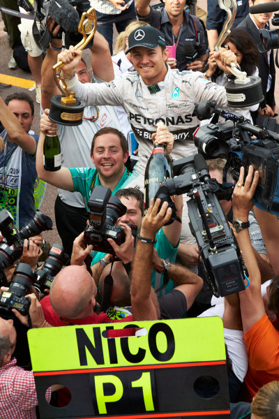 Monte Carlo, Monaco. Sunday 25 May 2014. Nico Rosberg, Mercedes AMG, 1st Position, and the Mercedes team celebrate victory. World Copyright: Steve Etherington/LAT Photographic. ref: Digital Image SNE12333 copy