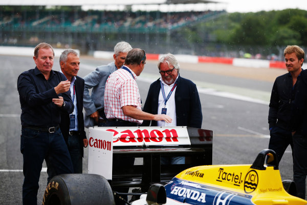 Williams 40 Event Silverstone, Northants, UK Friday 2 June 2017. L-R: Martin Brundle, Riccardo Patrese, Damon Hill, Nigel Mansell, Keke Rosberg and Nico Rosberg. World Copyright: Joe Portlock/LAT Images ref: Digital Image _L5R0288