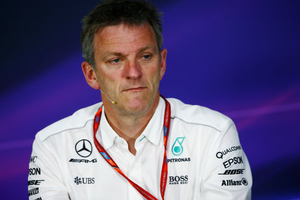 Circuit Gilles Villeneuve, Montreal, Canada. Friday 09 June 2017. James Allison, Technical Director, Mercedes AMGGuenther Steiner, Team Principal, Haas F1, in the Team Principals Press Conference. World Copyright: Andy Hone/LAT Images ref: Digital Image _ONZ0650