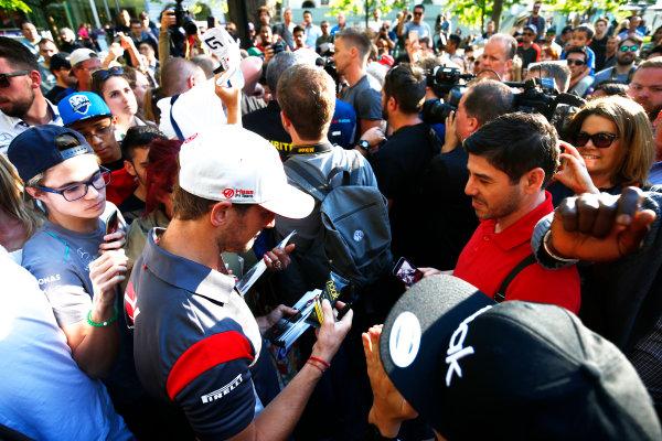Circuit Gilles Villeneuve, Montreal, Canada. Wednesday 7 June 2017. Romain Grosjean, Haas F1.  World Copyright: Hone/LAT Images ref: Digital Image _ONZ1229