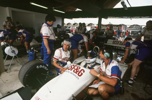 Jacarepagua, Rio de Janeiro, Brazil.1-3 April 1988.Derek Warwick (Arrows A10B-Megatron BMW), 4th position, in the pits,  portrait. World Copyright: LAT Photographic. Ref: 88BRA57