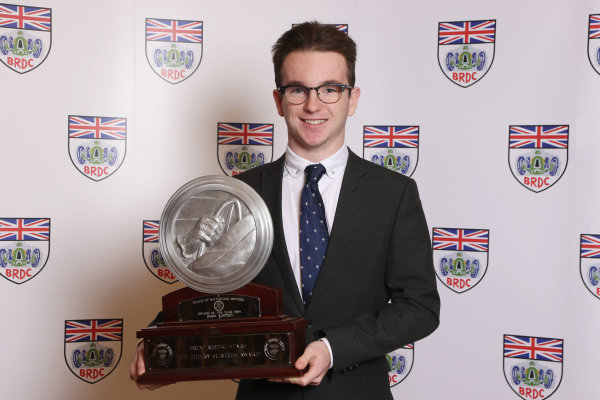 2014 BRDC Annual Awards The Grand Connaught Rooms, London, UK Monday 8 December 2014. Charlie Robertson with his Henry Surtees Award. World Copyright: Ebrey/LAT Photographic. ref: Digital Image Robertson-04