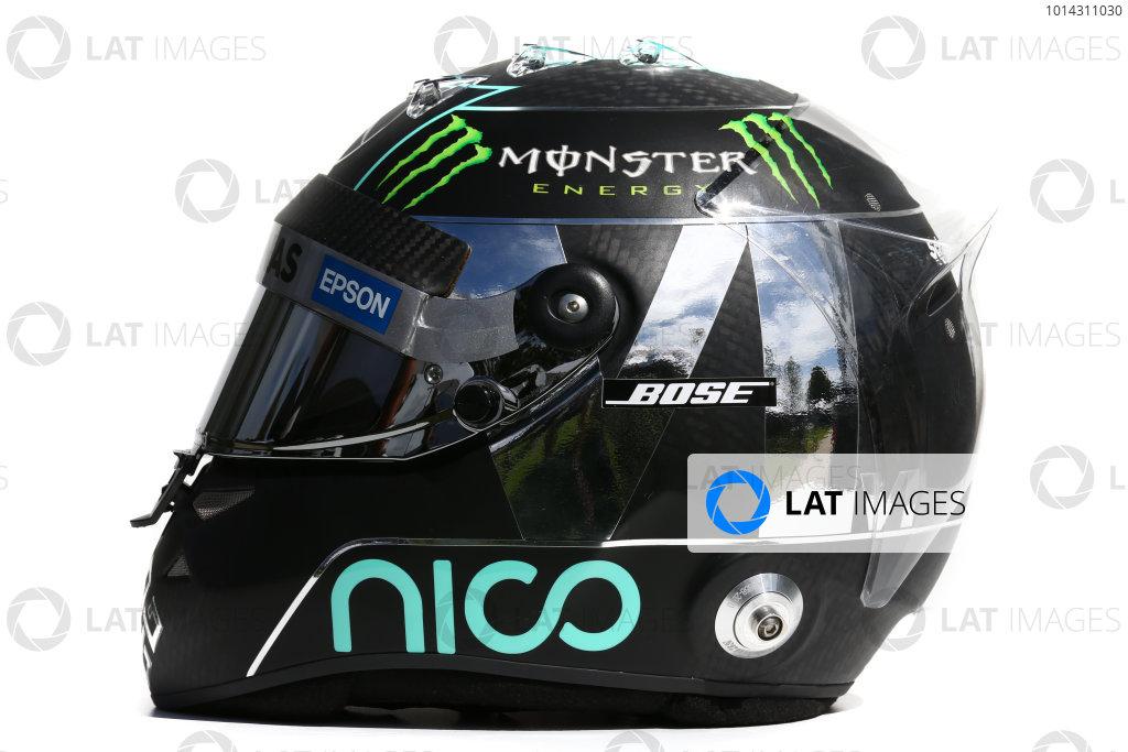 Albert Park, Melbourne, Australia. Helmet of Nico Rosberg, Mercedes AMG.  Thursday 12 March 2015. World Copyright: LAT Photographic. ref: Digital Image 2015_Helmet_060