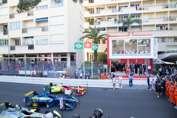 2014/2015 FIA Formula E Championship. Sebastien Buemi (SWI)/E.dams Renault - Spark-Renault SRT_01E Lucas di Grassi (BRA)/Audi Abt Sport - Spark-Renault SRT_01E Nelson Piquet Jr (BRA)/China Racing - Spark-Renault SRT_01E  Monaco ePrix Race. Monaco ePrix, Monte Carlo, Monaco, Europe. Saturday 9 May 2015  Photo: Adam Warner/LAT/Formula E ref: Digital Image _L5R1464