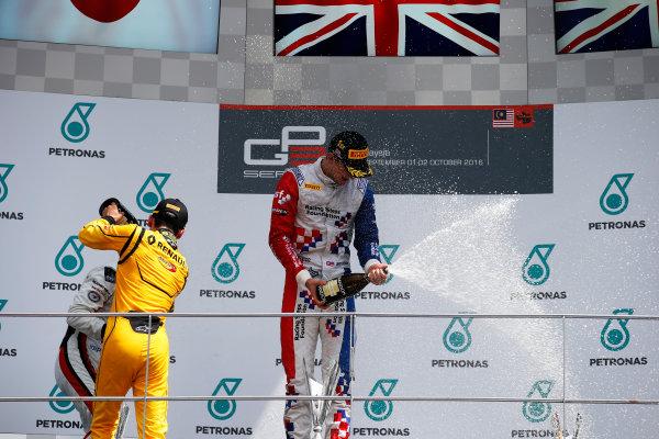Jake Dennis (GBR, Arden International) Nirei Fukuzumi (JPN, ART Grand Prix) and Jack Aitken (GBR, Arden International)  2016 GP3 Series Round 8 Sepang International Circuit, Sepang, Malaysia. Sunday 2 October 2016  Photo: Sam Bloxham/GP3 Series Media Service ref: Digital Image _SLA4849