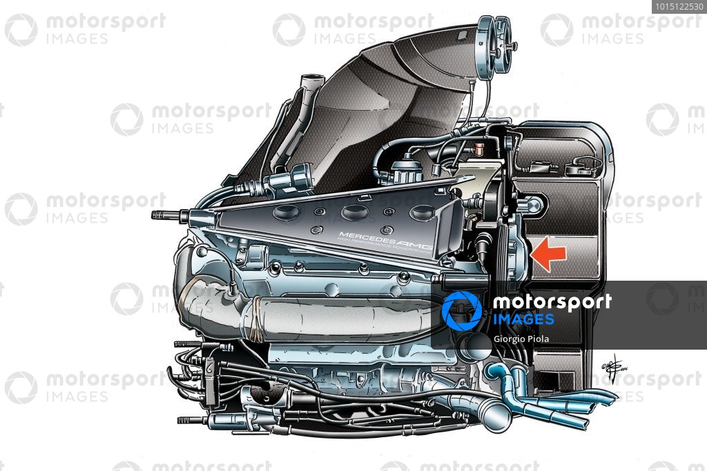 Mercedes PU106 powerunit side view, arrow pointing at turbo compressor