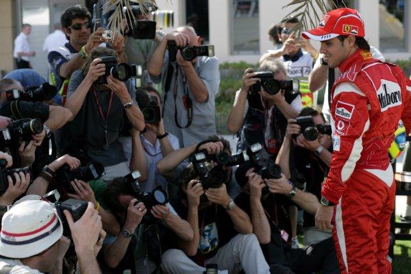 2006 Bahrain Grand Prix - Thursday Preview Bahrain International Circuit, Sakhir, Bahrain 9th - 12th March. Felipe Massa, Ferrari 248 F1 faces the photographers, portrait. World Copyright: Steven Tee/LAT Photographic ref: Digital Image VY9E0118.