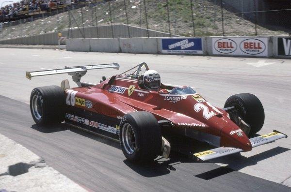 1982 United States Grand Prix West.Long Beach, California, USA. 2-4 April 1982.Didier Pironi (Ferrari 126C2), retired.World Copyright: LAT PhotographicRef: 35mm transparency 82LB03