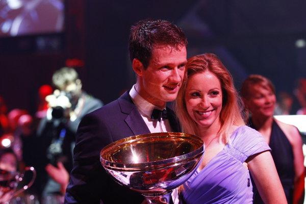 2013 FIA Gala Dinner and Awards. Paris, France. Friday 6th December 2013. WRC Champion Sebastien Ogier with his girlfriend. World Copyright & Mandatory Credit: FIA. ref: Digital Image 11244237696_4a2c67d41a_o