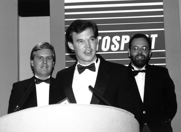 1989 Autosport Awards. Cafe Royal, London, England. 4th January 1990. Steve Rider, Peter Foubister and the Sportsman of the Year award winner Al Unser, Jr. World Copyright: LAT Photographic. Ref: B/W Print.