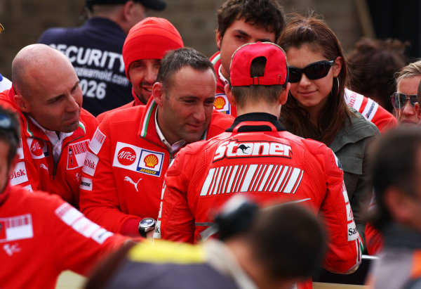 Donington Park, England. 20th-22nd June 2008.  Casey Stoner in parc ferme with his Ducati crew and girlfriend Adriana.  Ref: IMG_7345a. World Copyright: Kevin Wood/LAT Photographic