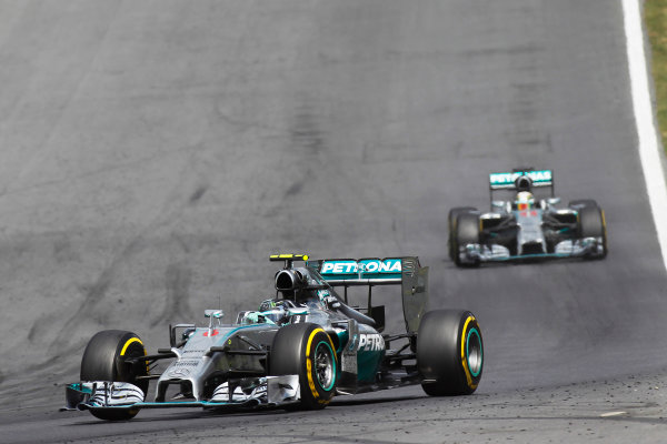 Red Bull Ring, Spielberg, Austria. Sunday 22 June 2014. Nico Rosberg, Mercedes F1 W05 Hybrid, leads Lewis Hamilton, Mercedes F1 W05 Hybrid. World Copyright: Sam Bloxham/LAT Photographic. ref: Digital Image _G7C9215