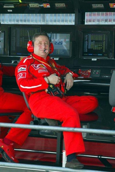 Jean Todt (FRA) Ferrari General Manager.Formula One World Championship, Rd5, Spanish Grand Prix, Barcelona, Spain, 2 May 2003.DIGITAL IMAGE