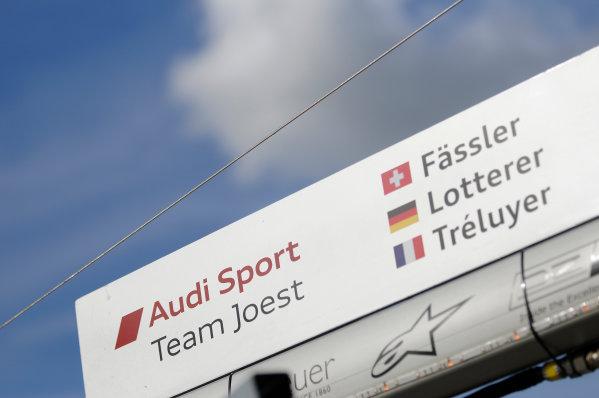 Silverstone, England. 24th - 26th August 2012. Rd 4.Pit signage for Andre Lotterer (GER), Marcel Fassler (CHE), Benoit Treluyer (FRA), Audi Sport Team Joest, Audi R18 E-Tron Quatrro, Detail, World Copyright: Chris Bird/LAT Photographic.Ref:  _CJB8344
