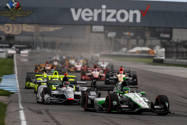 12-14 May, 2016, Indianapolis, Indiana Conor Daly leads a restart ?2016, Michael L. Levitt LAT Photo USA