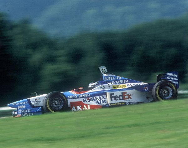 1997 Austrian Grand Prix.A1 Ring, Austria. 21 September 1997.Gerhard Berger, Benetton B197-Renault, 10th position, action.World Copyright: LAT PhotographicRef: 35mm transparency