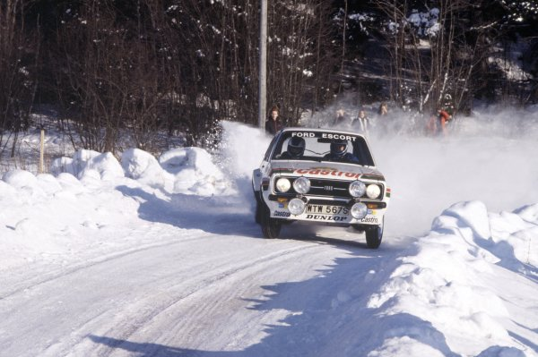 1978 World Rally Championship.Swedish Rally, Sweden. 10-12 February 1978.Bjorn Waldegaard/Hans Thorszelius (Ford Escort RS), 1st position.World Copyright: LAT PhotographicRef: 35mm transparency 78RALLY11